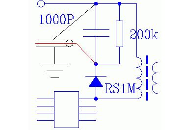 下图是1号驱动的振铃吸收电路和示波器接入方法(示波器的地线接整流