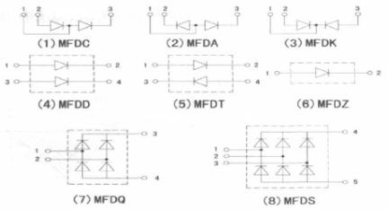 图1 超快恢复二极管模块内部电路连接图